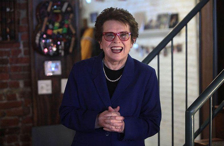 Billie Jean King at a Hillary Clinton campaign event in Des Moines, Iowa on January 26, 2016.
