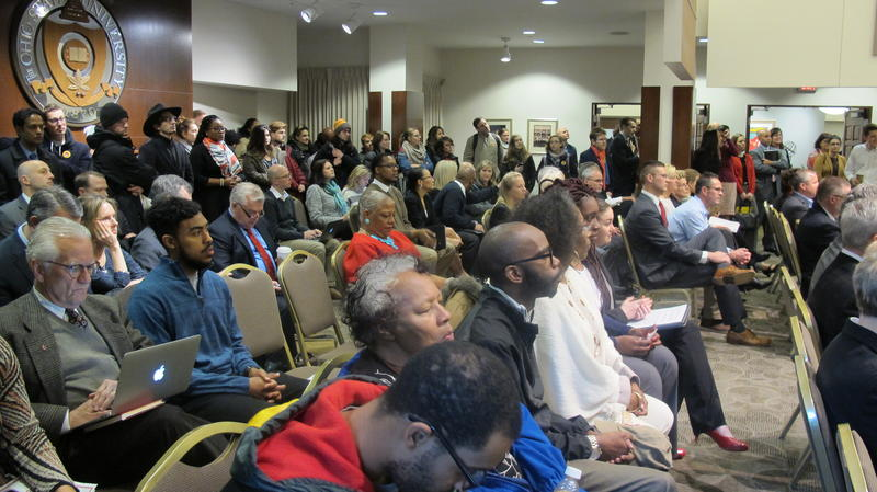 A large crowd showed up to the public trustees meeting on Friday.