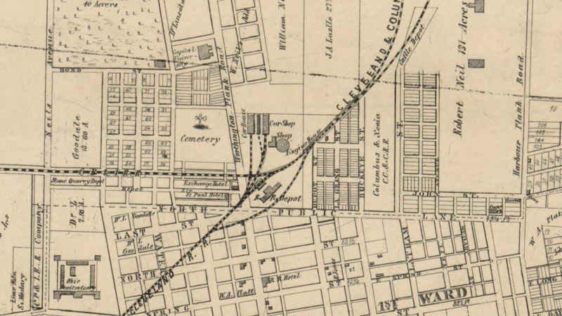 A map of Columbus from 1856 shows the location of the Old North Cemetery, which now sits below North Market.