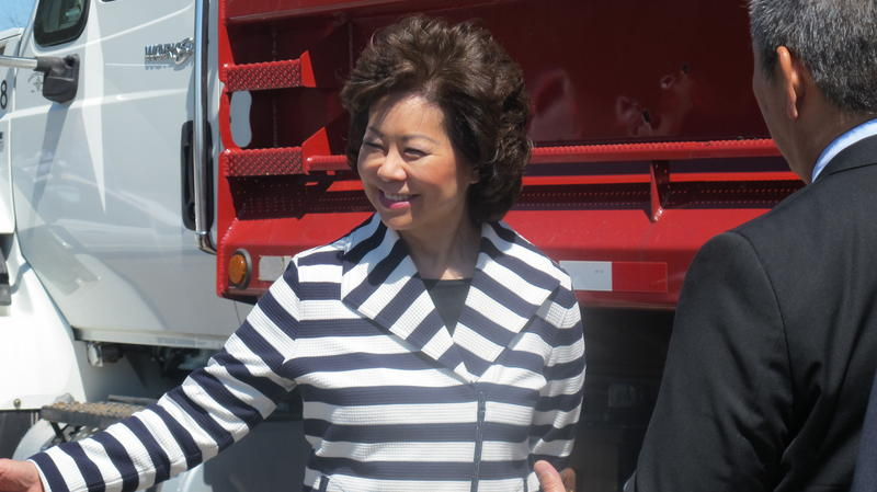 Transportation Secretary Elaine Chao toured the Transportation Research Center in East Liberty on Monday.