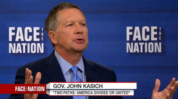 Ohio Gov. John Kasich on CBS' Face The Nation.