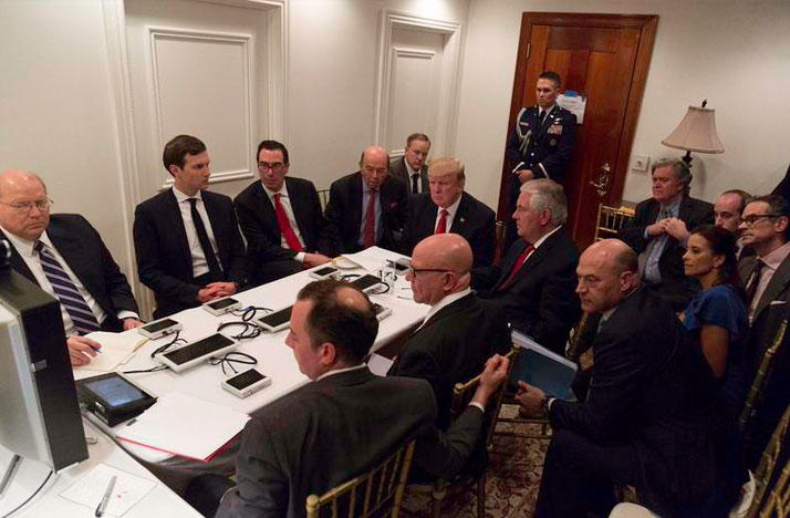 President Donald Trump recieving a briefing about the Syrian chemical attack at Mar-a-Lago in West Palm Beach.