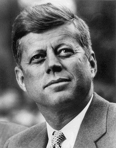 black-and-white photo of President John F. Kennedy