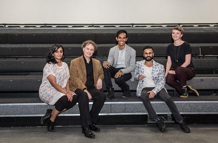 The creative team behind the completion of Sukanya, from left to right: video designer Akhila Krishnan, conductor David Murphy, director Suba Das, choreographer Aakash Odedra and set designer Molly Einchcomb