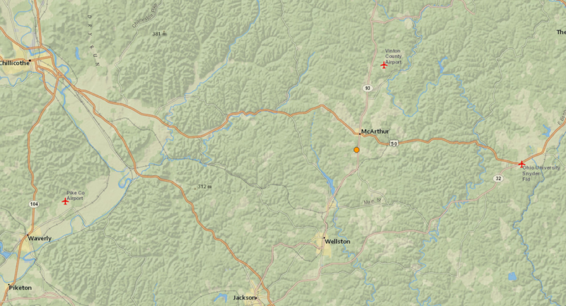 An orange dot shows the epicenter of Wednesday's 3.4-magnitude earthquake near McArthur.