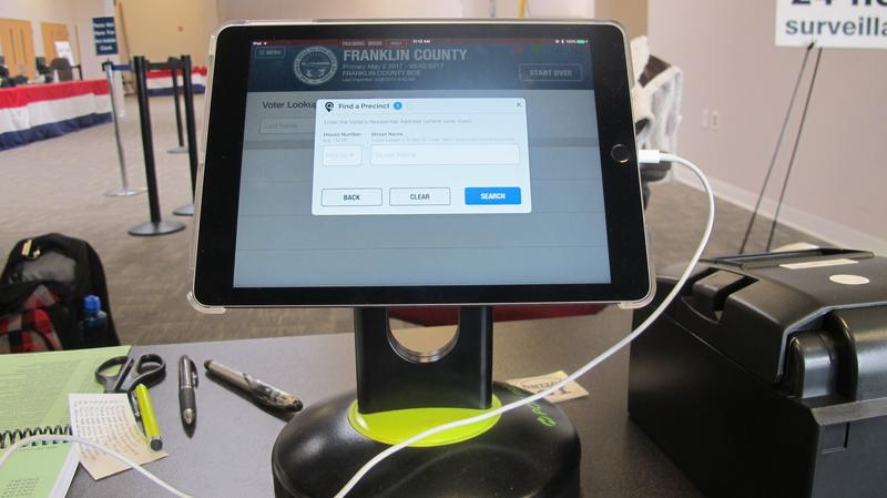 """The iPads used as """"poll pads"""" allow voting precincts to streamline the process."""