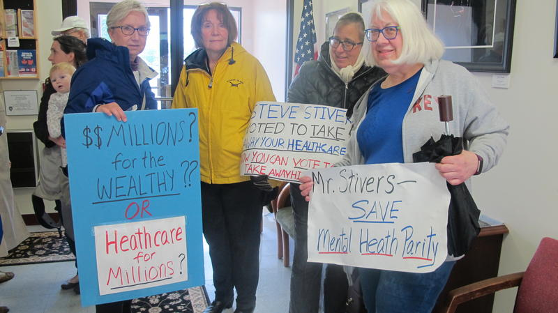 Protesters outside of Rep. Steve Stivers' office demonstrated against the Republican health care bill.