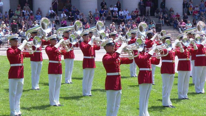 The U.S. Marine Corp Band performs on the Ohio Statehouse lawn.