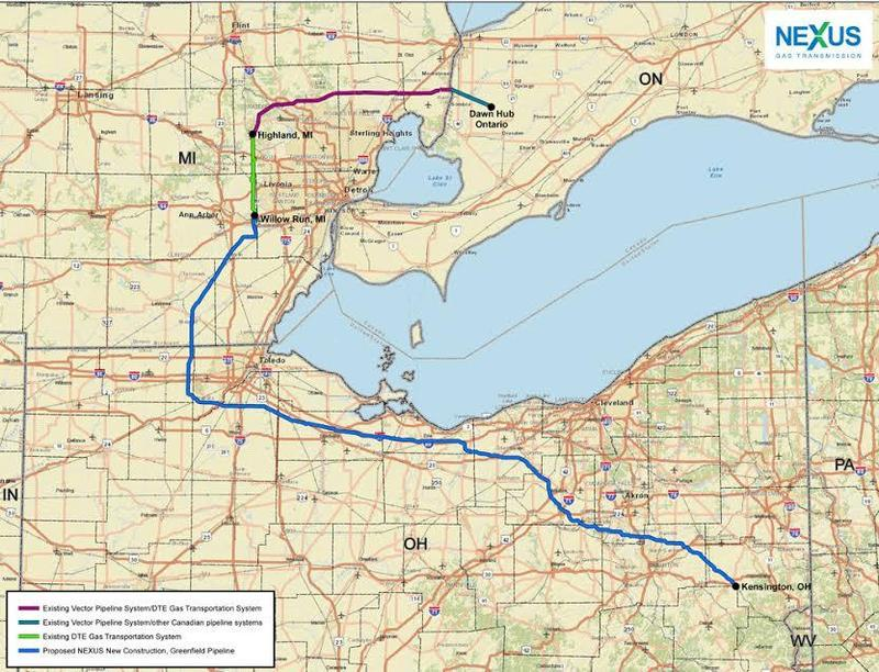 The pipeline would run from eastern Ohio to Michigan.
