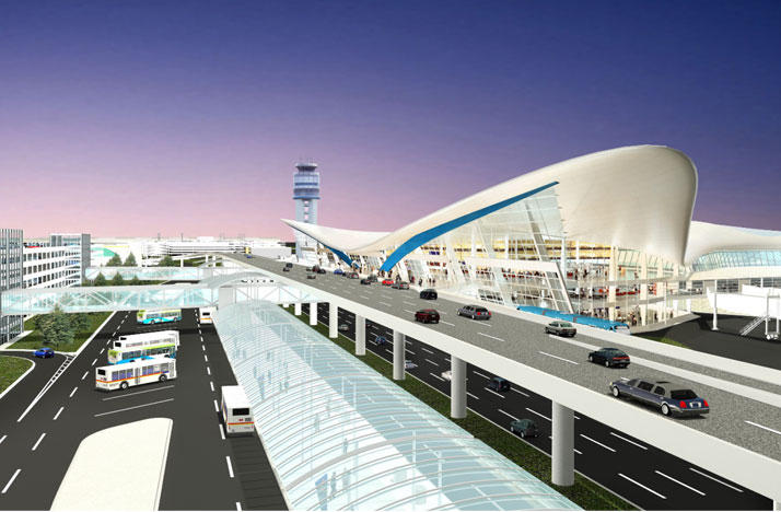 A rendering depicts the rental car facility (right) in relation to the future terminal and other development at John Glenn International Airport.