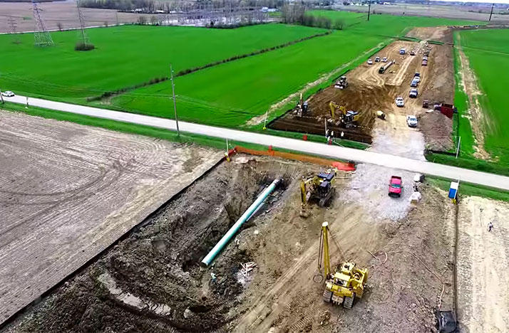 Construction of the Rover Pipeline in Shelby, Ohio.