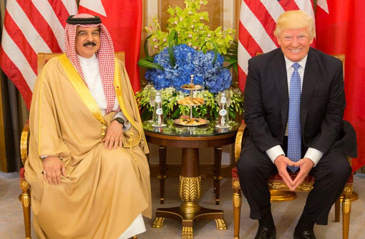 President Donald Trump meets with King Hamed bin Issa of Bahrain during their bilateral meeting, Sunday, May 21, 2017, at the Ritz-Carlton Hotel in Riyadh, Saudi Arabia.