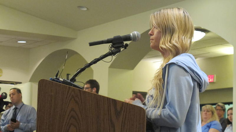 Former student Mollie Hankins tells school board she was a victim of former Dublin Scioto teacher Gregory Lee.