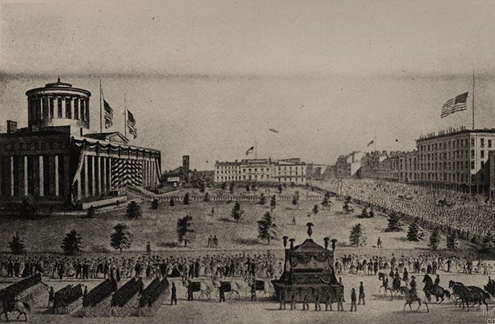 A lithograph of Abraham Lincoln's funeral cortage in Columbus