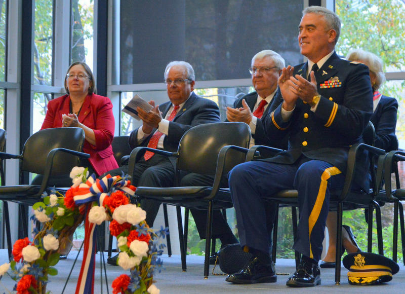 Rep. Brad Wenstrup, right, gave the keynote speech at Public Library of Cincinnati's 60th Veterans Day commemoration.