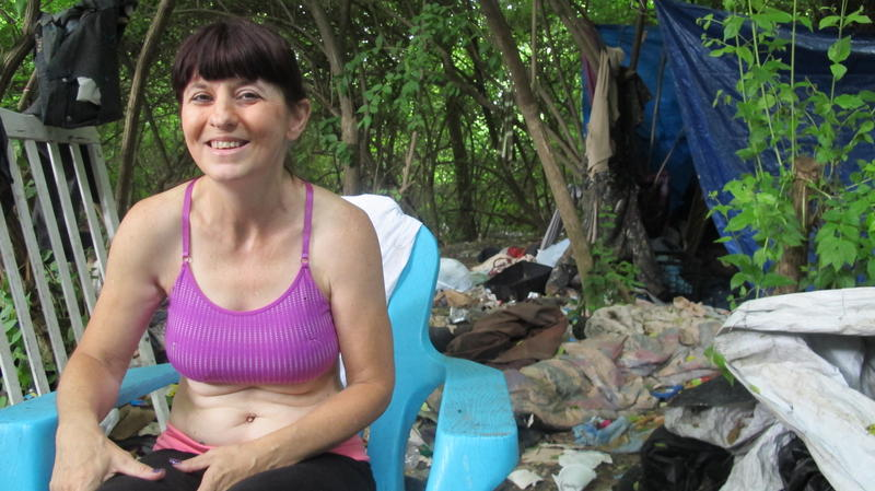 Lori Novotoney, who's been homeless for about a year, now resides in a camp in Franklinton.