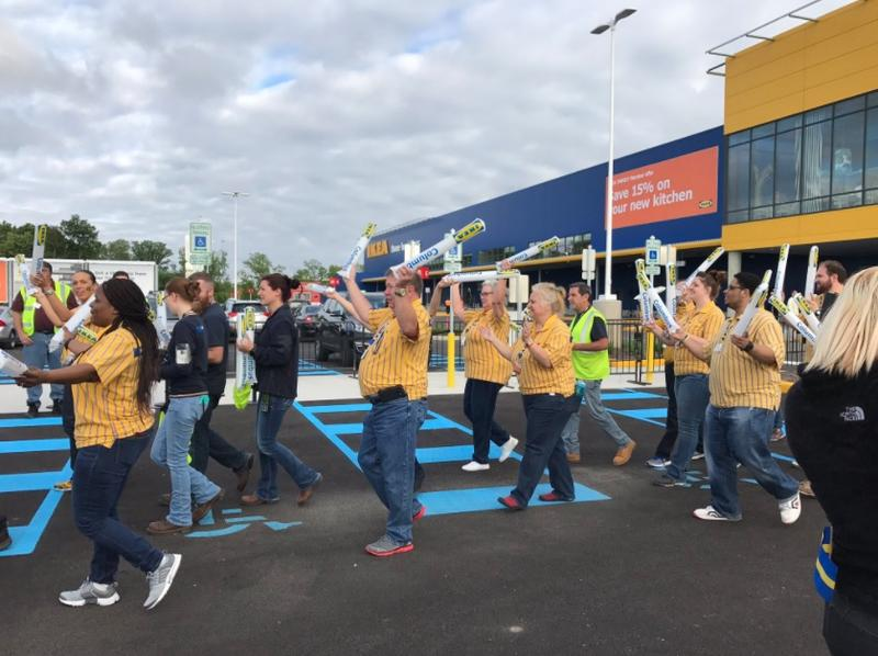 Employees were in the parking lot Wednesday morning as part of opening festivities.