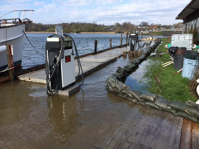 A flooded gas dock at a marina on Lake Ontario in Rochester, New York.