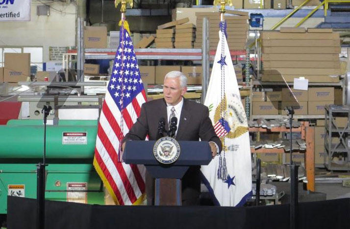 Vice President Mike Pence speaks at Tendon Manufacturing.