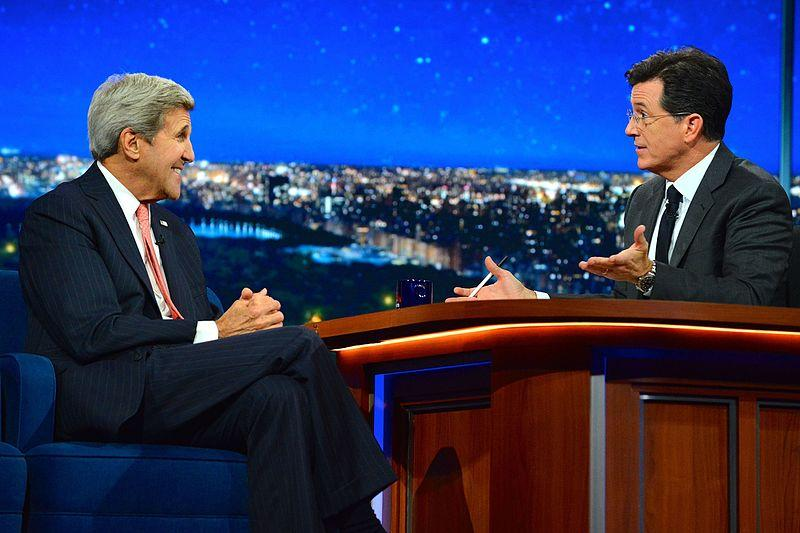 Former U.S Secretary of State, John Kerry appeared on The Late Show with Stephen Colbert in 2015.