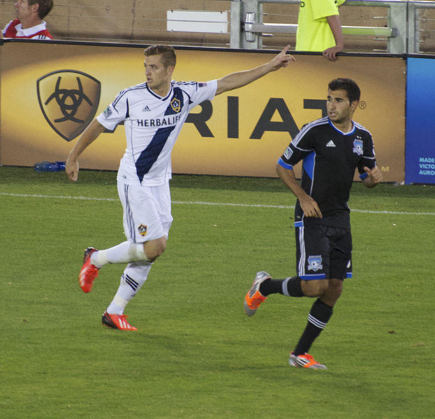 The player on the left is Robbie Rodgers, a midfielder for the Los Angeles Galaxy and the only openly gay male athlete playing in one of America's five professional sports leagues.