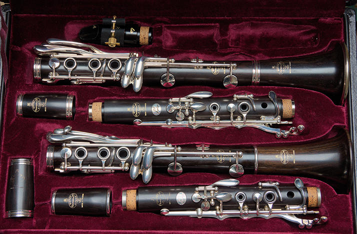 clarinet in open case with red velvet lining