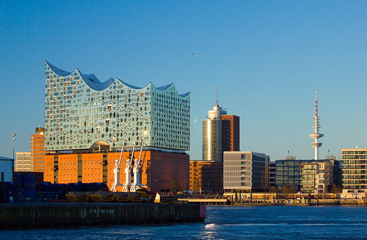 color photo of Elbphilharmonie concert hall in Hamburg, Germany