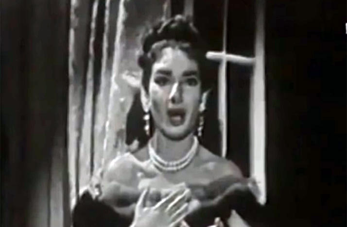 black-and-white photo of Maria Callas singing