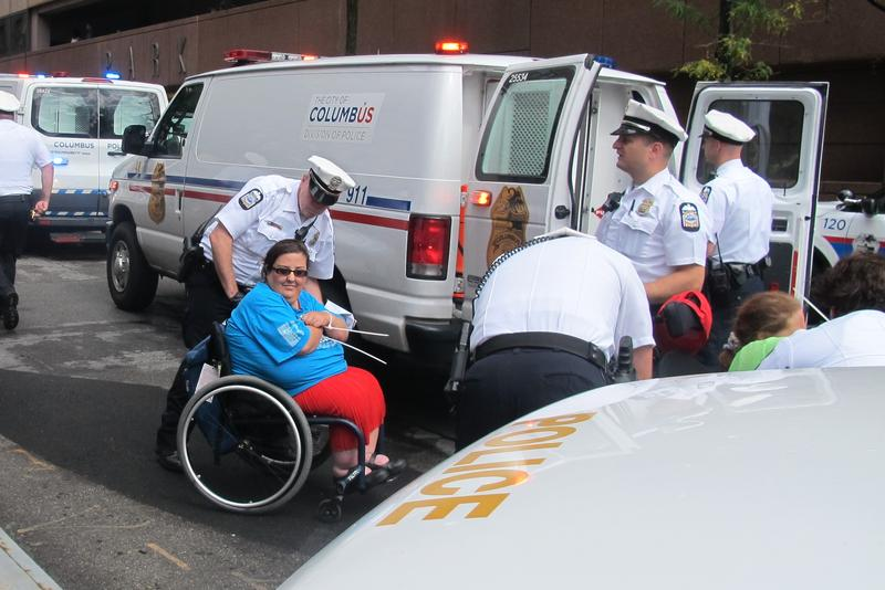 Columbus Police arrested at least 15 disability rights protesters at Sen. Portman's office in Columbus.