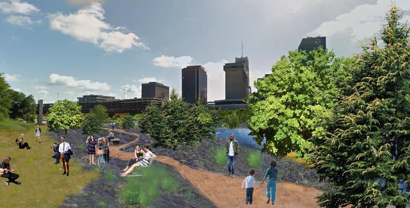 "An artist's rendering of a ""pop-up forest"" built inside Akron's Innerbelt highway."