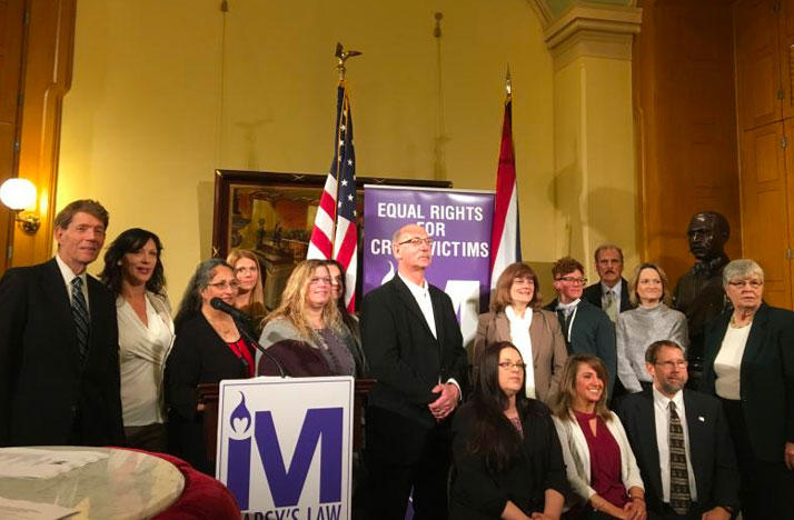 "Backers of ""Marsy's Law"" at Ohio Statehouse."