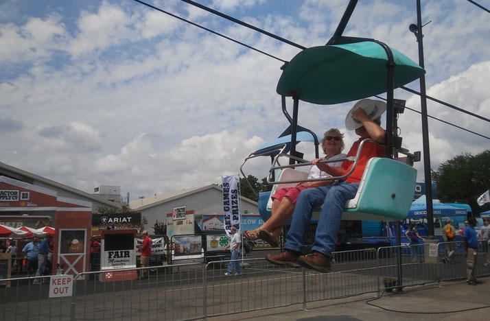 Carol Beal and her husband are some of the first back on reopened Ohio State Fair ride SkyGlider.