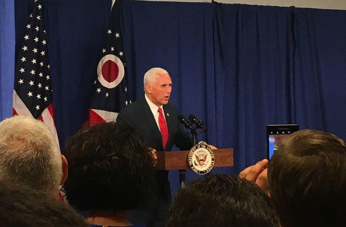 Vice President Mike Pence speaks to a crowd.