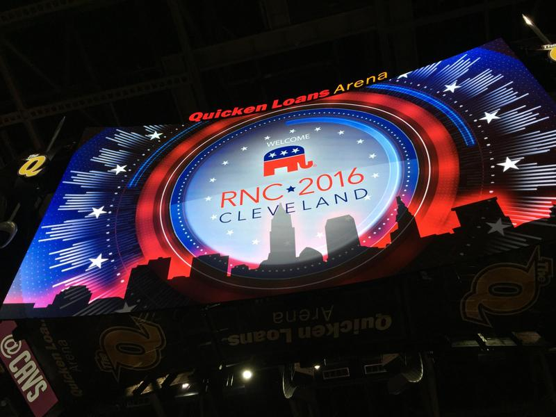 Videoboard at 2016 Republican National Convention in Cleveland.