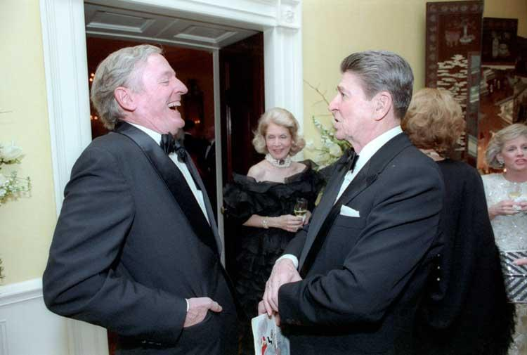William F. Buckley Jr. at President Ronald Reagan's birthday party in 1986.