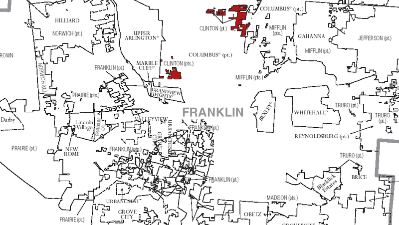 In red, the disconnected sections of Clinton Township within Franklin County.