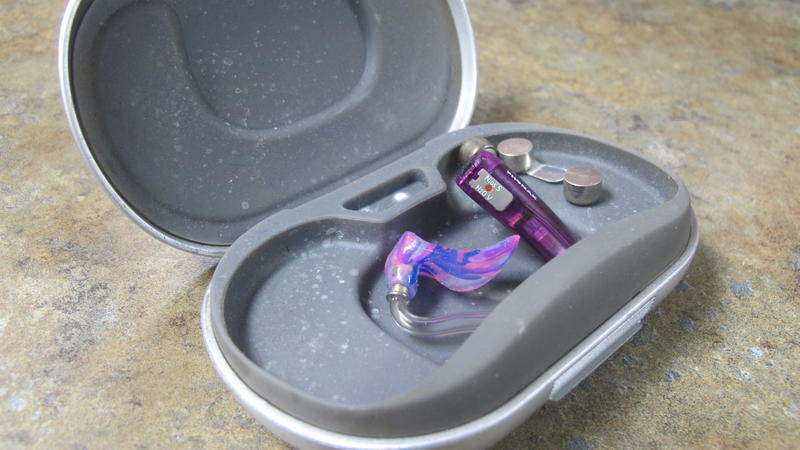 Eden Bradley's hearing aid, which she stopped needing to use.