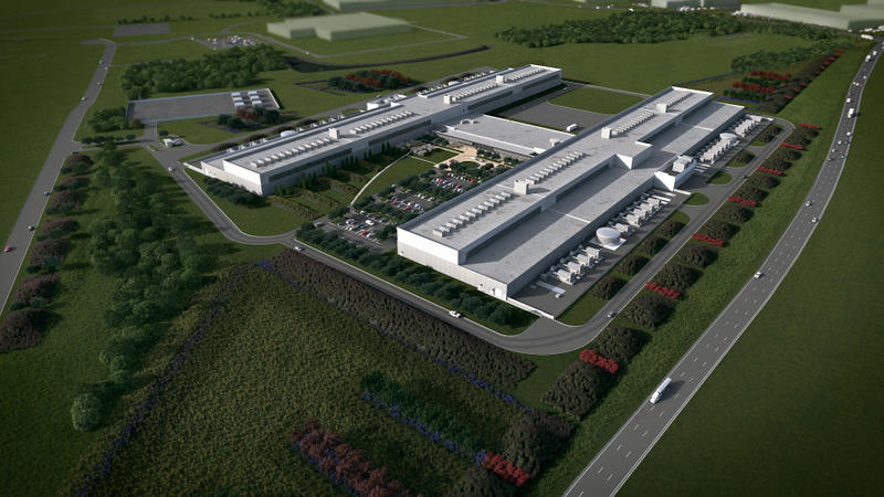Artist rendering of a Facebook data center planned for Fort Worth, Texas.