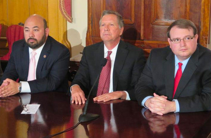 House Speaker Cliff Rosenberger (R-Clarksville), Gov. John Kasich and Senate President Larry Obhof (R-Medina) appear at a press conference about the budget in April.