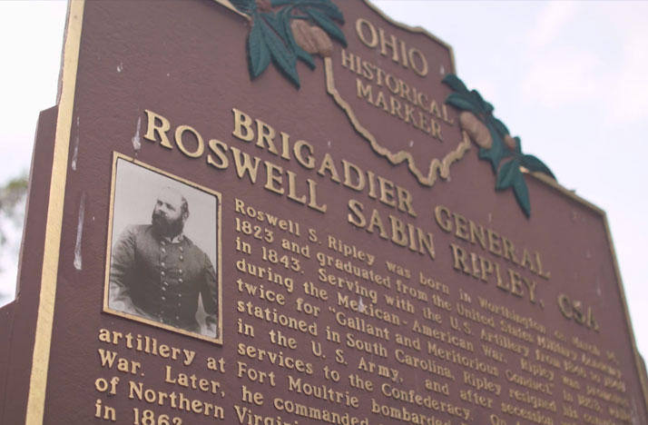 An Ohio Historical Marker honoring Worthington native and Confederate General Roswell Ripley has been removed from outside his childhood home.