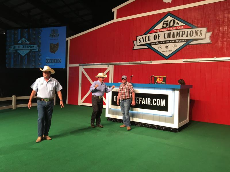Ohio Department of Agriculture Director David Daniels walks around the new Sale of Champions stage before the event.