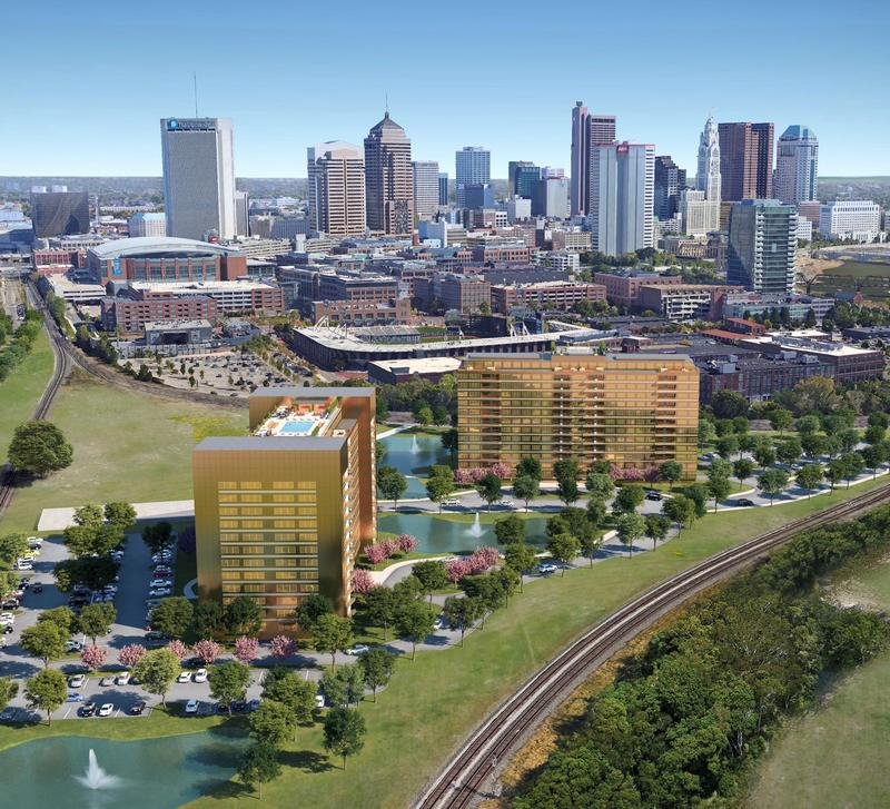 An artist's rendering of a proposed 23-acre development in the Arena District, which would include two hotels and businesses.