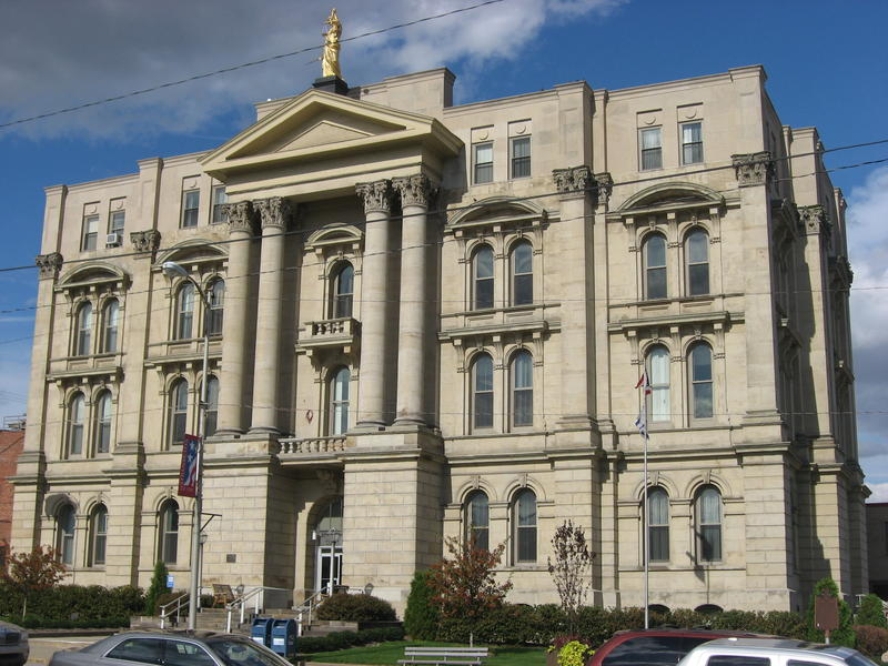 A county courthouse in Steubenville, OH, where a judge was shot Monday.