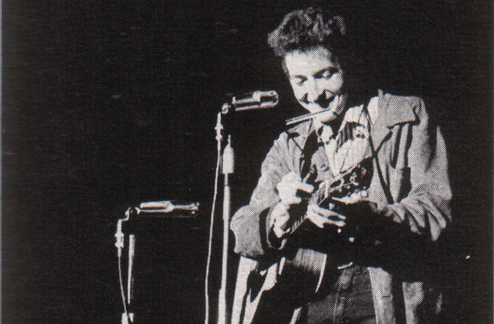 Bob Dylan performing at St. Lawrence University in New York on Nov. 26, 1963