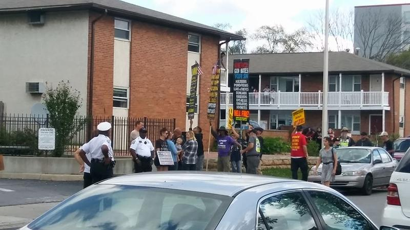 A small group of protesters from a hate group demonstrated outside the Masjid Omar mosque in Columbus.
