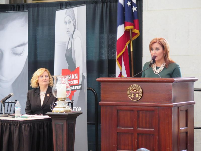 Lt. Gov. Mary Taylor speaks at an event opposing human trafficking.