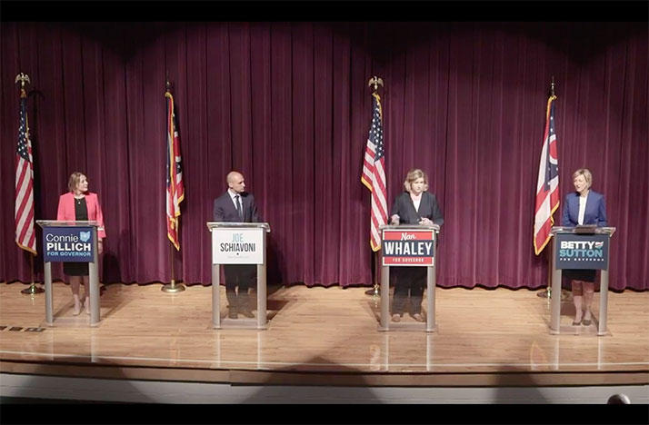 Ohio Democratic governor candidates Connie Pillich (from left), Joe Schiavoni, Nan Whaley and Betty Sutton took part in the first Democratic debate in Martin's Ferry.