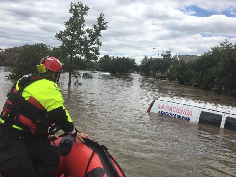 Ohio Task Force One conducts rescue boat operations in Houston.