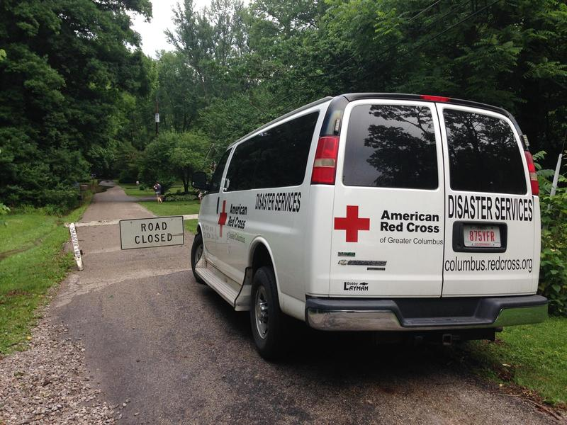 The Red Cross responds to flooding after heavy storms in June 2016.