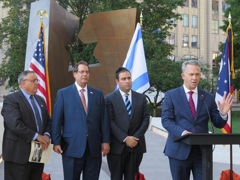 State Rep. Andy Thompson surrounded by backers of legislation L-R Chris Long, Ohio Christian Alliance, Michael Goldstein, Proclaiming Justice to the Nations and Rabbi Avi Goldstein, Columbus area clergy member.